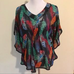 Love Fire Feather Print Blouse